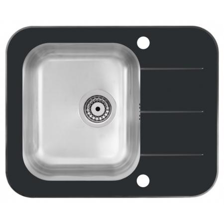 Quadron - Zestaw zlewozmywak szklany KEANU 116 czarny z baterią NAOMI chromowaną